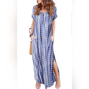 Summer Maxi Dress Casual Loose Pockets Long Dress